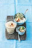 A baked apple smoothie, horseradish quark with apple and tofu dip with nuts