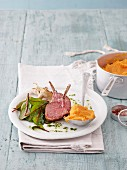 Lamb chops with sweet potatoes and chard