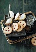 Gmunden cider biscuits and Linzer Augen (nutty shortcrust jam sandwich biscuits with holes on top), Austria
