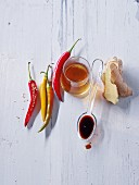 Healthy ingredients: chilli, vinegar, soy sauce and ginger