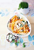 Vegetable pasta with feta cheese