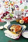Lemon chicken with radicchio salad
