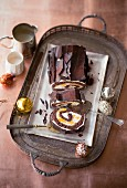 Chocolate Swiss roll with mango and mascarpone cream