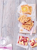 Three different fruit tray bake cakes