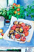 Oven-baked summer vegetables on baking paper