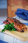 Crispy roast pork belly with parsley