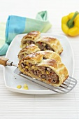 Mincemeat strudel with pepper and sweetcorn
