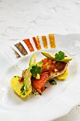Spiced catfish with avocado and clover