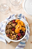 Veal, chickpea, cherry and apricot stew