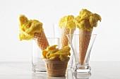 Saffron and ginger ice cream in cones