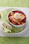 Plum and pear crumble served with vanilla ice cream
