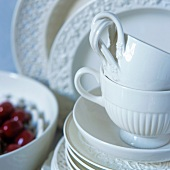 White porcelain cups and plates
