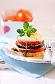 A tomato and aubergine tower