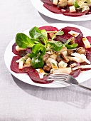Beetroot salad with chestnuts, pears, Parmesan cheese and lamb's lettuce