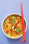Spicy noodle soup with chicken, leek, chillis and coriander (Asia)