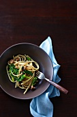 Linguine with minced pork and Savoy cabbage