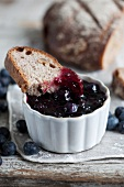 Bilberry jam and bread