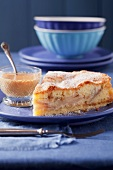 Apple and marzipan cake with caramel sauce
