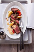 Chateaubriand steak with pepper foam and potato orzo pasta