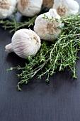Garlic bulbs and thyme
