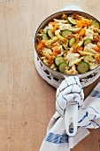 Pasta bake with courgette and pumpkin