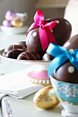 Chocolate Easter eggs with bows