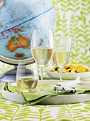 Still life with white wine, globe and model aeroplane