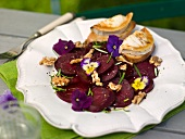 Beetroot salad with goat's cheese toast