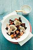Beetroot salad with trout and apple