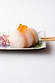 Scallop sashimi with keta kaviar