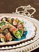 Black salsify with parma ham