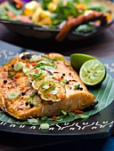 Salmon fillet with limes, spring onions and spices (Caribbean)