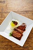 Duck breast with creamy celery