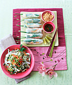 Kachumber salad with coconut and Vietnamese spring rolls
