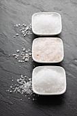 Three types of salt (fleur de sel, Himalayan salt, sea salt) in bowls