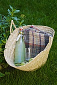 A bottle of home-made lemonade for a picnic