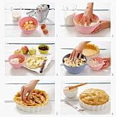 Apple pie with raisins being prepared
