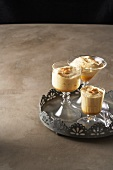 Three glasses of coffee mousse