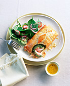 Salmon with watercress wrapped in pastry