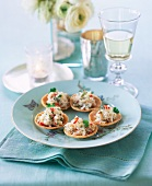 Crabmeat with coriander and chilli in crispy shells