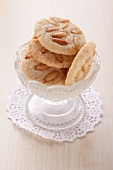 Pine nut cookies in a glass dish