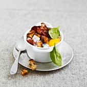 Coddled egg with bacon and croutons