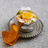 Coddled egg with sweet corn, peppers and tortilla chips