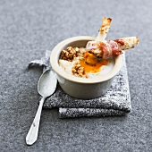 Coddled egg with nuts and Jerusalem artichokes wrapped in bacon