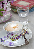 Cappuccino in floral cup