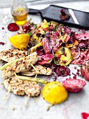 Grilled chicken with beetroot salad