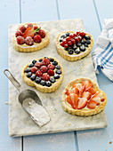 Heart-shaped berry tartlets