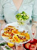 Grilled tofu escalopes with nuts and Brussels sprouts