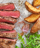 Steaks and potato wedges