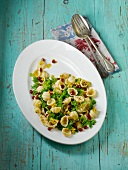 Pasta with cabbage, pomegranate seeds and pistachio nut sauce